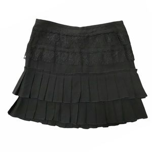 2/$20 Black Silk Pleated and Lace Tiered Skirt